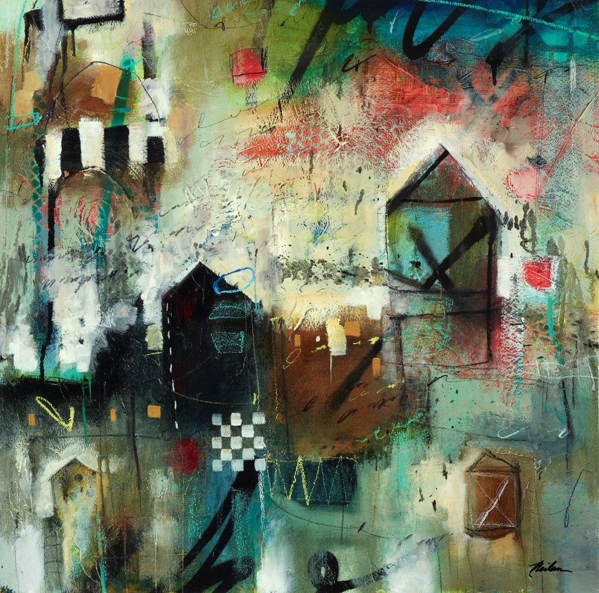 Urban Tapestry VI by john and elli milan -  sized 20x20 inches. Available from Whitewall Galleries
